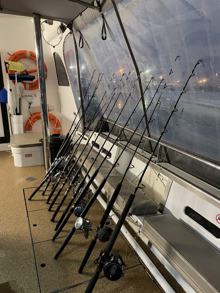 A line of fishing rods ready to be used on the Highland Spirit.